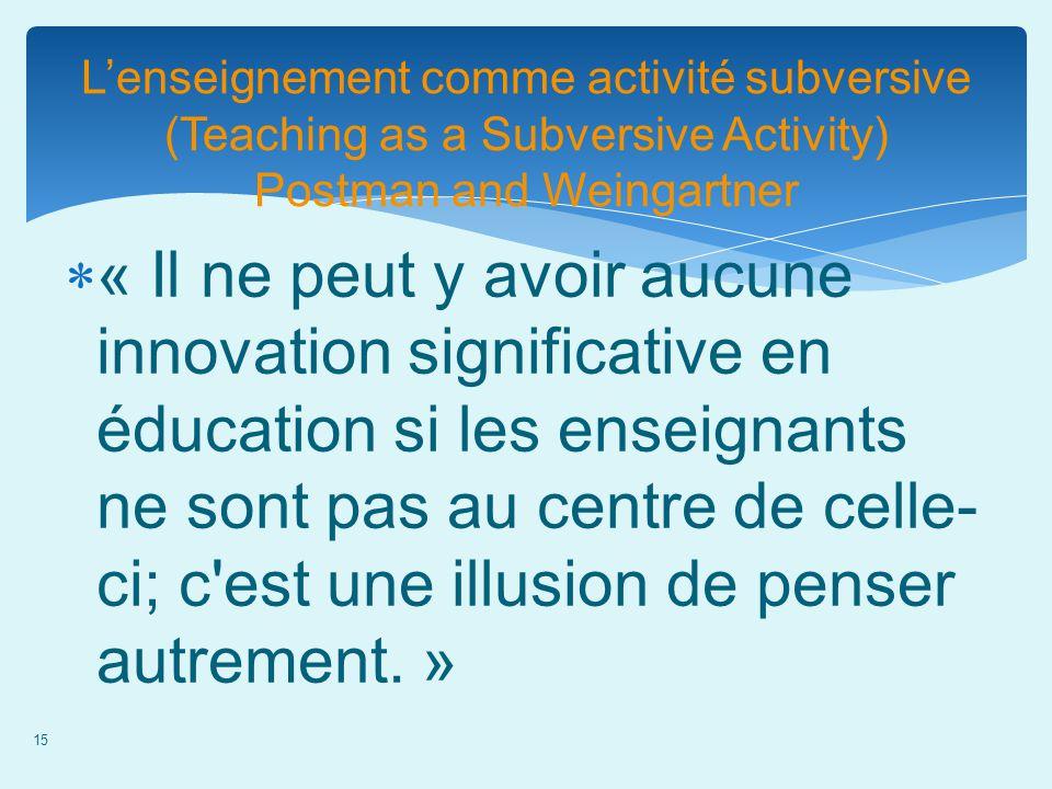 15 Lenseignement comme activité subversive (Teaching as a Subversive Activity) Postman and Weingartner « Il ne peut y avoir aucune innovation signific