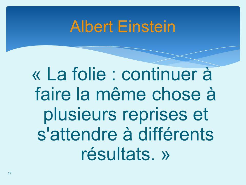 17 Albert Einstein « La folie : continuer à faire la même chose à plusieurs reprises et s'attendre à différents résultats. »