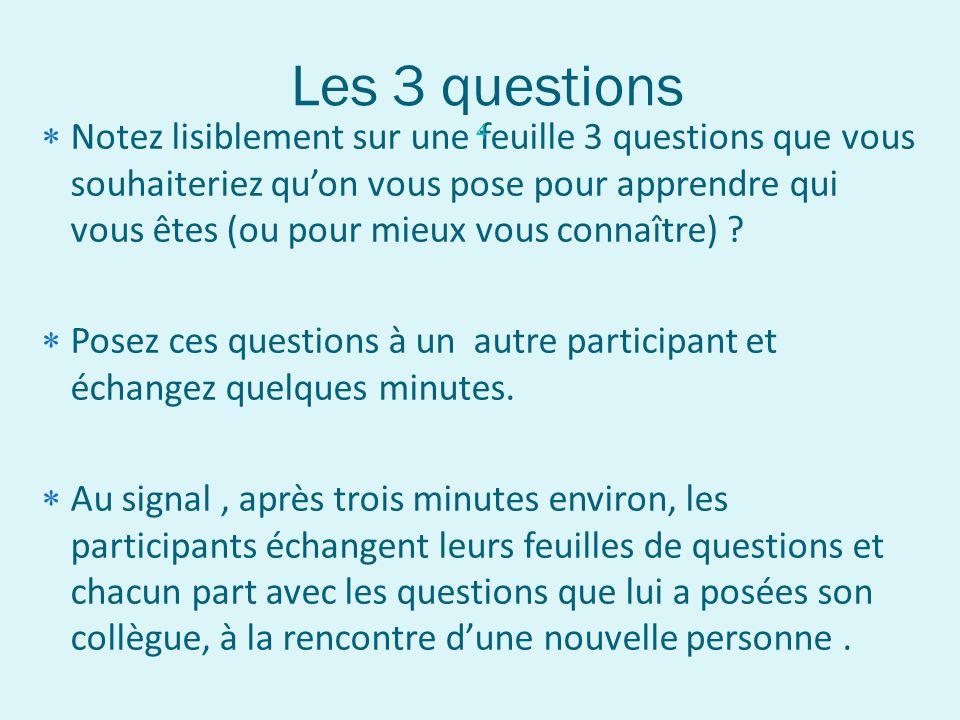 Les 3 questions Notez lisiblement sur une feuille 3 questions que vous souhaiteriez quon vous pose pour apprendre qui vous êtes (ou pour mieux vous co