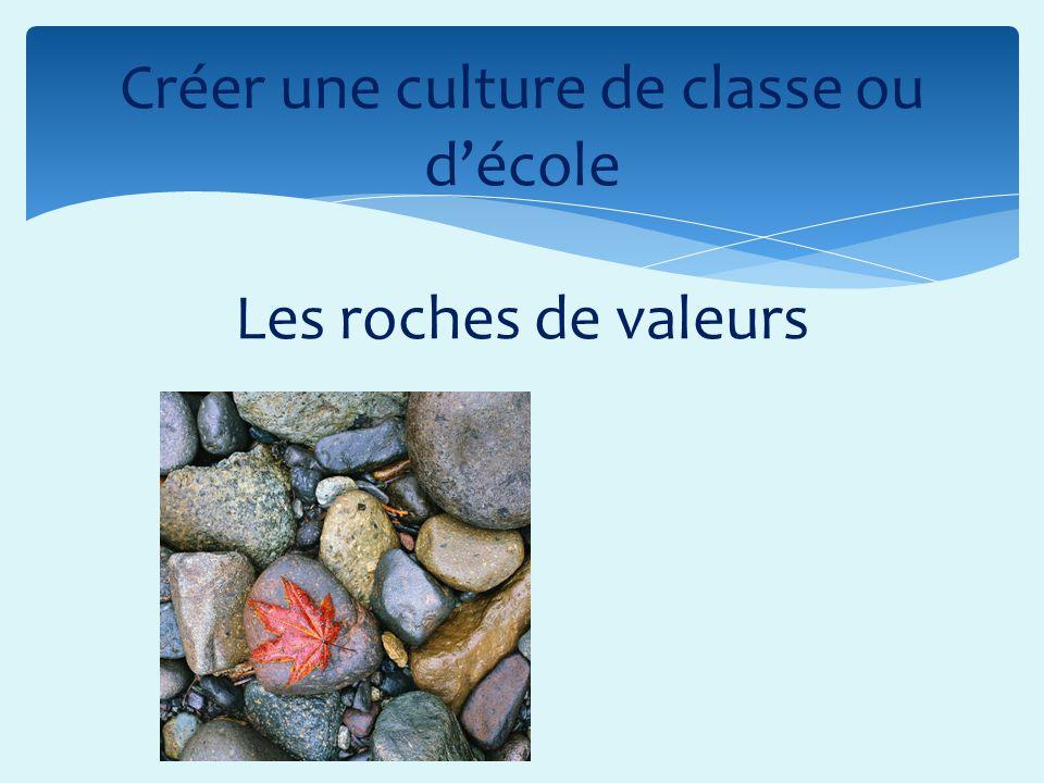 Créer une culture de classe ou décole Les roches de valeurs