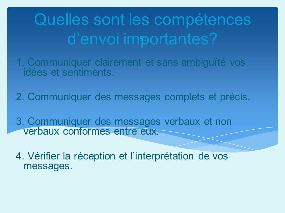 Quelles sont les compétences denvoi importantes? 51 1. Communiquer clairement et sans ambiguïté vos idées et sentiments. 2. Communiquer des messages c