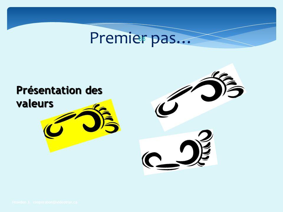 Premier pas… Howden J. cooperation@videotron.ca 68 Présentation des valeurs
