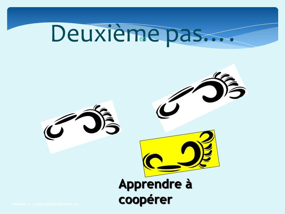 Deuxième pas…. Howden J. cooperation@videotron.ca 69 Apprendre à coopérer