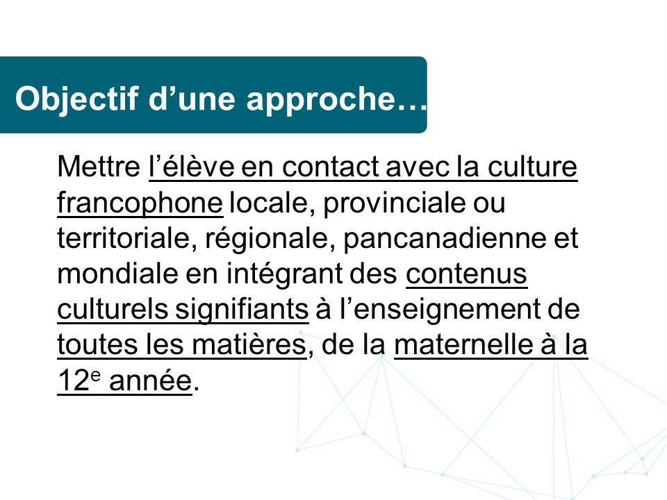 Objectif dune approche… Mettre lélève en contact avec la culture francophone locale, provinciale ou territoriale, régionale, pancanadienne et mondiale en intégrant des contenus culturels signifiants à lenseignement de toutes les matières, de la maternelle à la 12 e année.