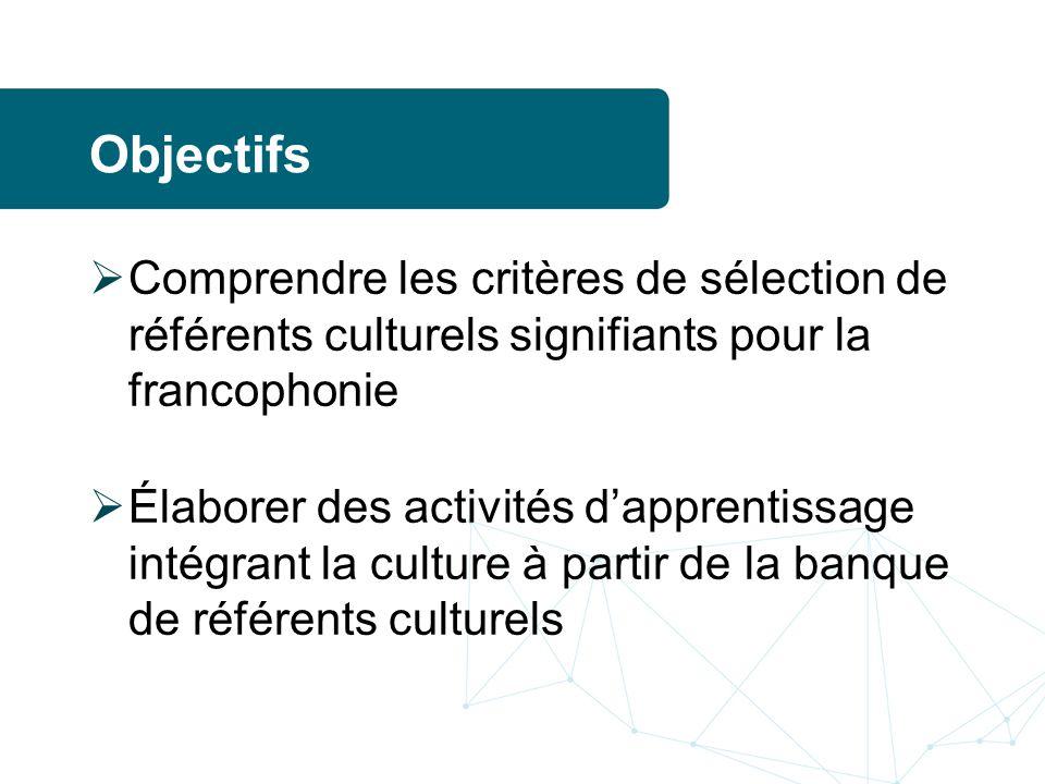 Objectifs Comprendre les critères de sélection de référents culturels signifiants pour la francophonie Élaborer des activités dapprentissage intégrant la culture à partir de la banque de référents culturels