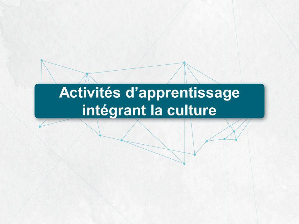 Activités dapprentissage intégrant la culture