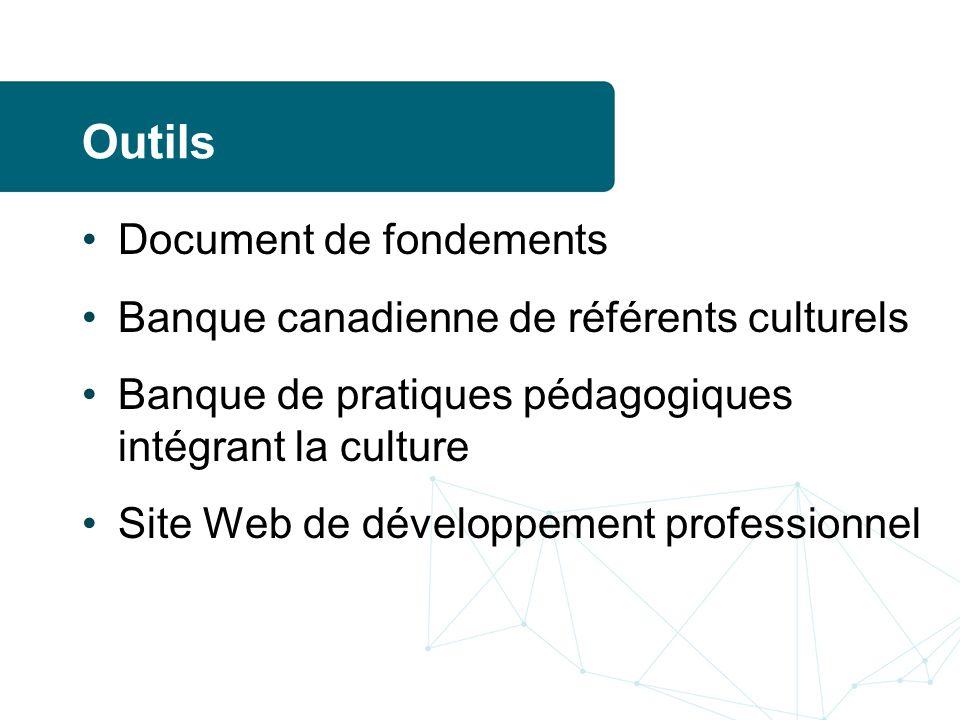 Outils Document de fondements Banque canadienne de référents culturels Banque de pratiques pédagogiques intégrant la culture Site Web de développement professionnel
