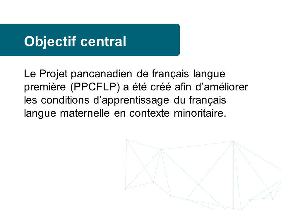 Objectif central Le Projet pancanadien de français langue première (PPCFLP) a été créé afin daméliorer les conditions dapprentissage du français langue maternelle en contexte minoritaire.