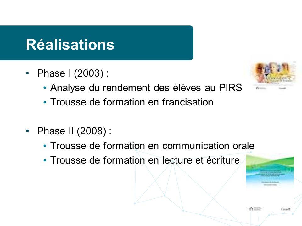 Réalisations Phase I (2003) : Analyse du rendement des élèves au PIRS Trousse de formation en francisation Phase II (2008) : Trousse de formation en communication orale Trousse de formation en lecture et écriture