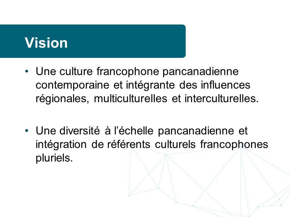 Vision Une culture francophone pancanadienne contemporaine et intégrante des influences régionales, multiculturelles et interculturelles.