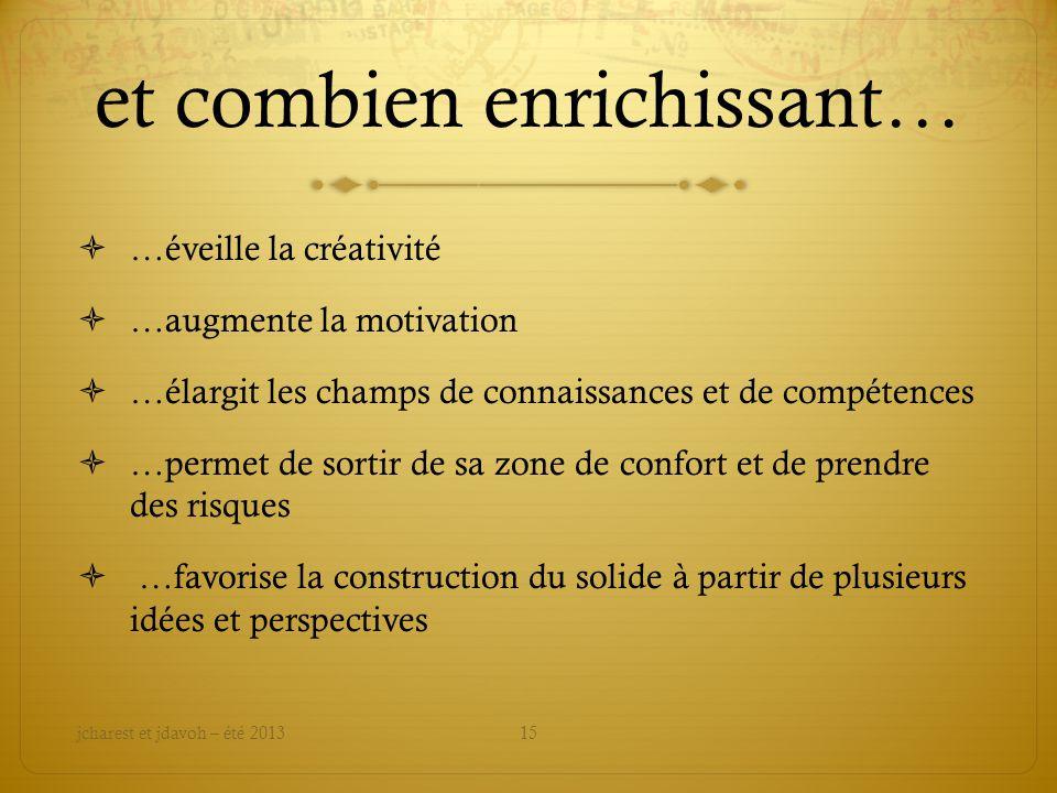 et combien enrichissant… …éveille la créativité …augmente la motivation …élargit les champs de connaissances et de compétences …permet de sortir de sa