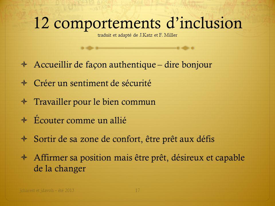 12 comportements dinclusion traduit et adapté de J.Katz et F.