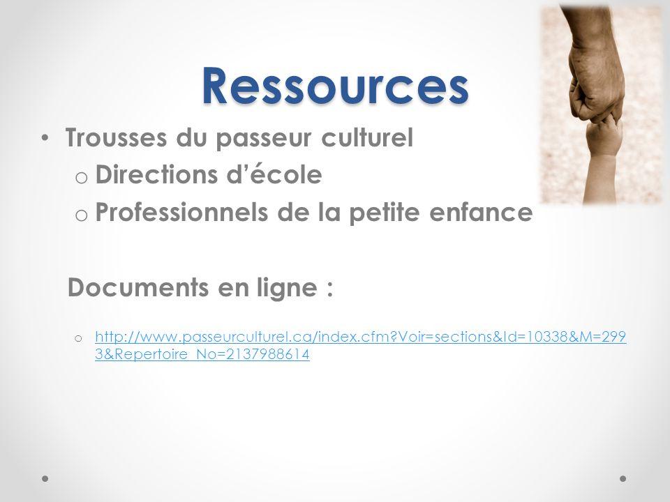Ressources Trousses du passeur culturel o Directions décole o Professionnels de la petite enfance Documents en ligne : o http://www.passeurculturel.ca/index.cfm Voir=sections&Id=10338&M=299 3&Repertoire_No=2137988614 http://www.passeurculturel.ca/index.cfm Voir=sections&Id=10338&M=299 3&Repertoire_No=2137988614