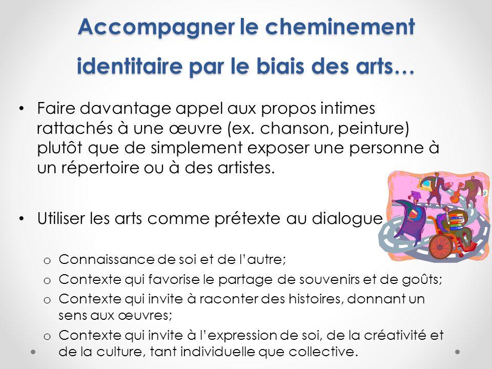 Accompagner le cheminement identitaire par le biais des arts… Faire davantage appel aux propos intimes rattachés à une œuvre (ex.