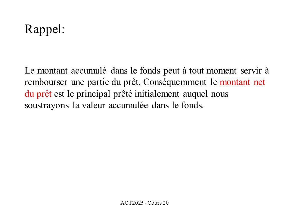 ACT2025 - Cours 20 Le montant accumulé dans le fonds peut à tout moment servir à rembourser une partie du prêt.
