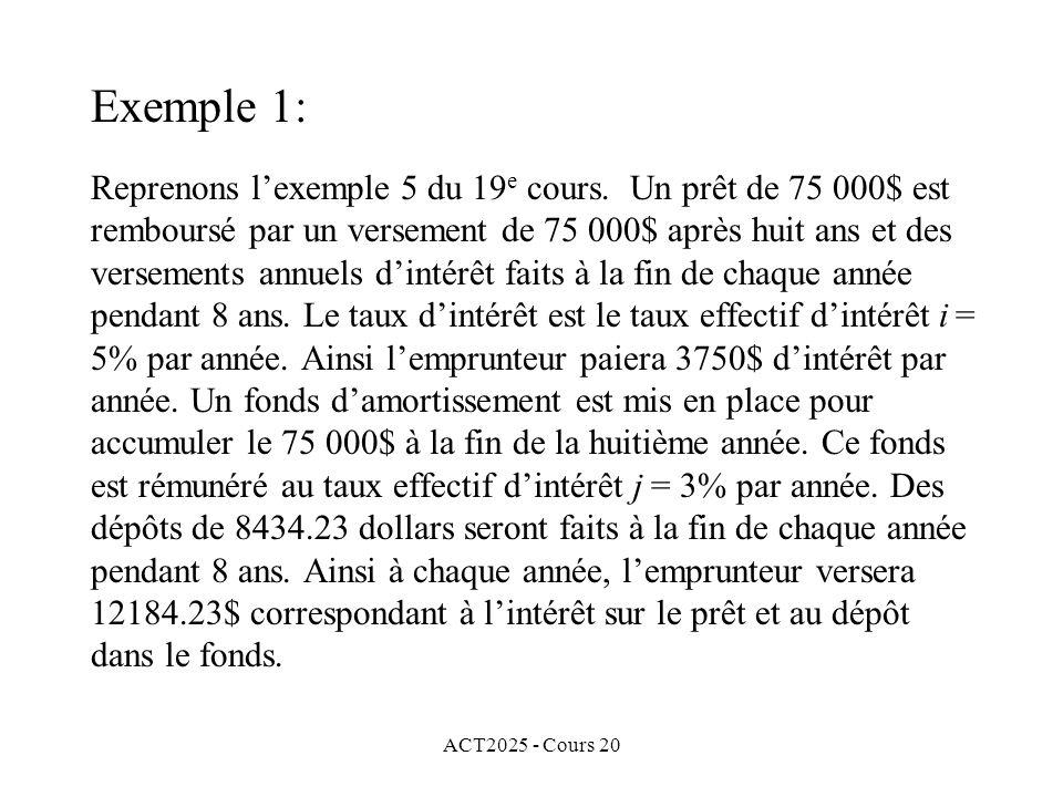 ACT2025 - Cours 20 Reprenons lexemple 5 du 19 e cours.