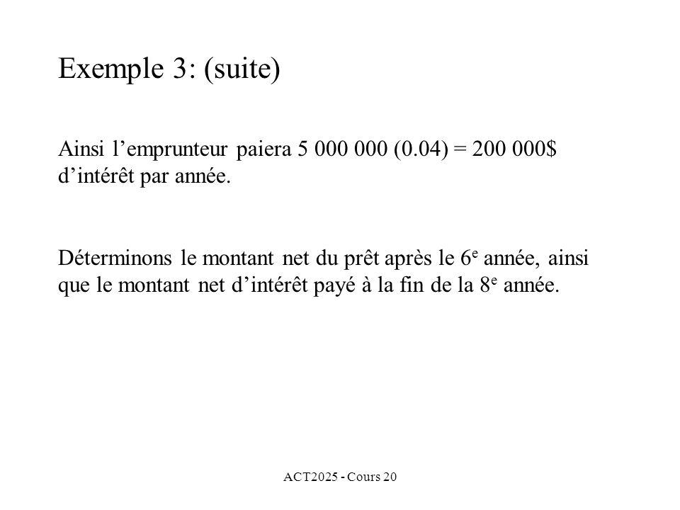 ACT2025 - Cours 20 Ainsi lemprunteur paiera 5 000 000 (0.04) = 200 000$ dintérêt par année.