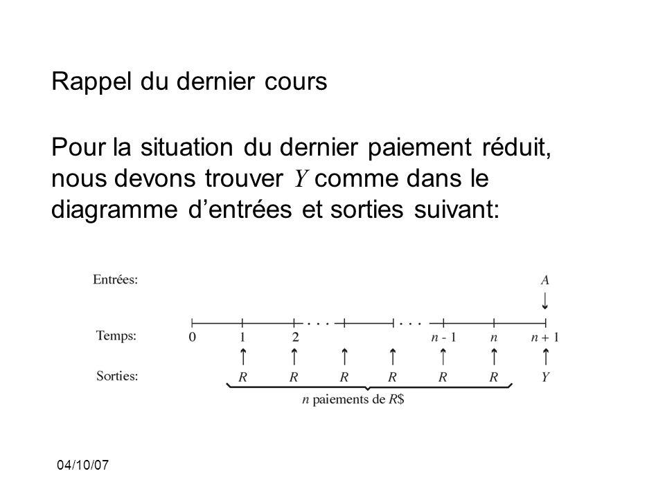 04/10/07 Rappel du dernier cours Pour la situation du dernier paiement réduit, nous devons trouver Y comme dans le diagramme dentrées et sorties suivant: