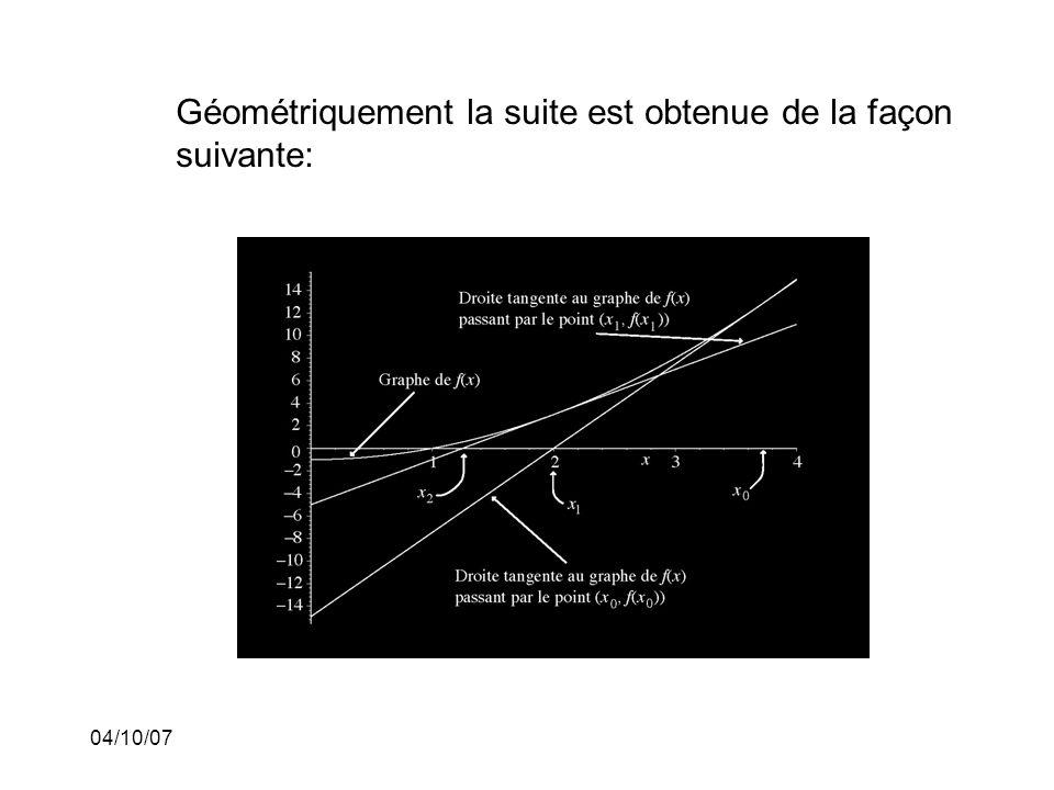 04/10/07 Géométriquement la suite est obtenue de la façon suivante: