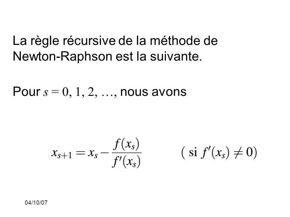 04/10/07 La règle récursive de la méthode de Newton-Raphson est la suivante.