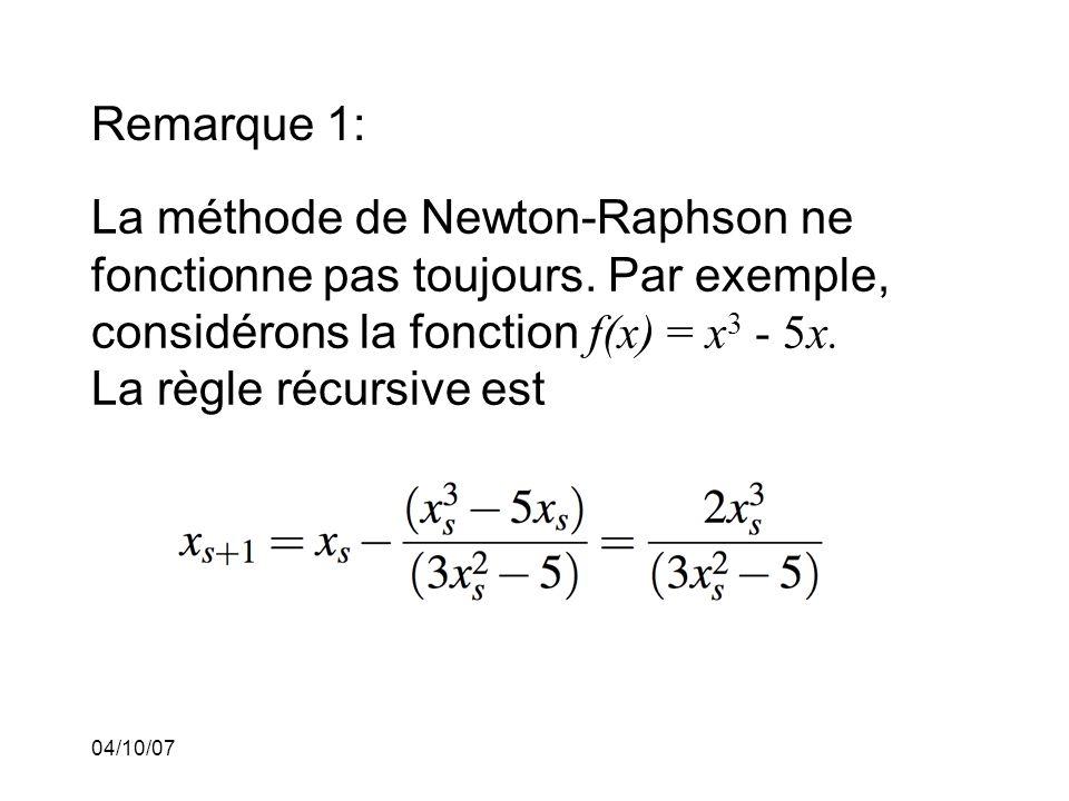 04/10/07 Remarque 1: La méthode de Newton-Raphson ne fonctionne pas toujours.