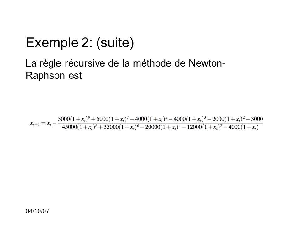 04/10/07 Exemple 2: (suite) La règle récursive de la méthode de Newton- Raphson est