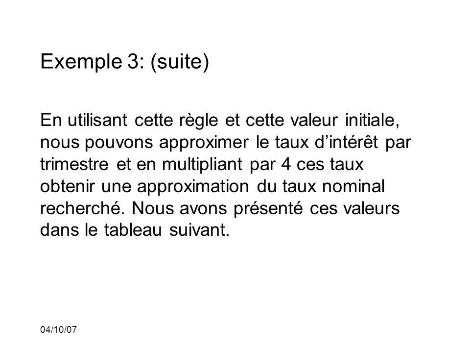 04/10/07 Exemple 3: (suite) En utilisant cette règle et cette valeur initiale, nous pouvons approximer le taux dintérêt par trimestre et en multipliant par 4 ces taux obtenir une approximation du taux nominal recherché.