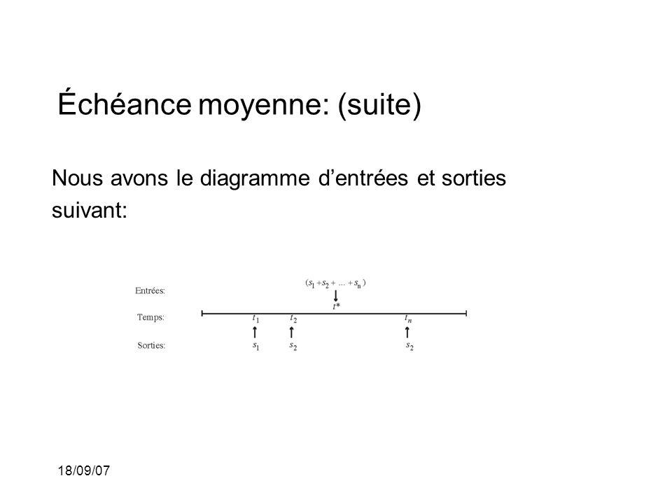 18/09/07 Échéance moyenne: (suite) Nous avons le diagramme dentrées et sorties suivant: