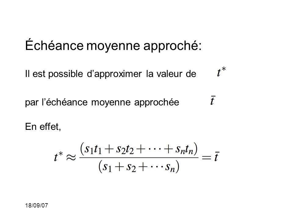 18/09/07 Échéance moyenne approché: Il est possible dapproximer la valeur de par léchéance moyenne approchée En effet,