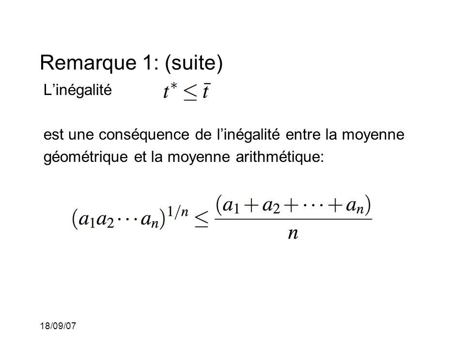 18/09/07 Remarque 1: (suite) Linégalité est une conséquence de linégalité entre la moyenne géométrique et la moyenne arithmétique: