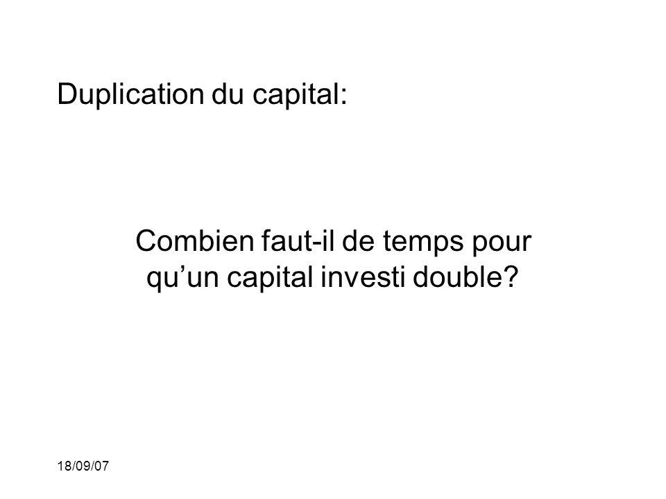 18/09/07 Duplication du capital: Combien faut-il de temps pour quun capital investi double