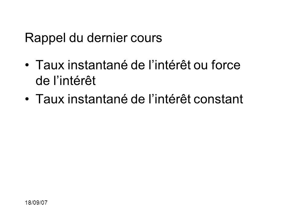 18/09/07 Rappel du dernier cours Taux instantané de lintérêt ou force de lintérêt Taux instantané de lintérêt constant