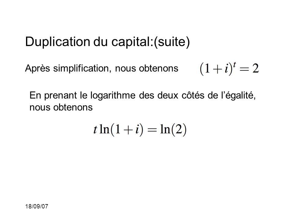 18/09/07 Duplication du capital:(suite) Après simplification, nous obtenons En prenant le logarithme des deux côtés de légalité, nous obtenons