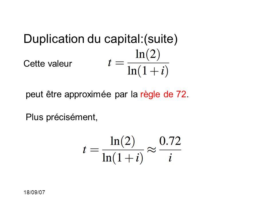 18/09/07 Duplication du capital:(suite) Cette valeur peut être approximée par la règle de 72. Plus précisément,