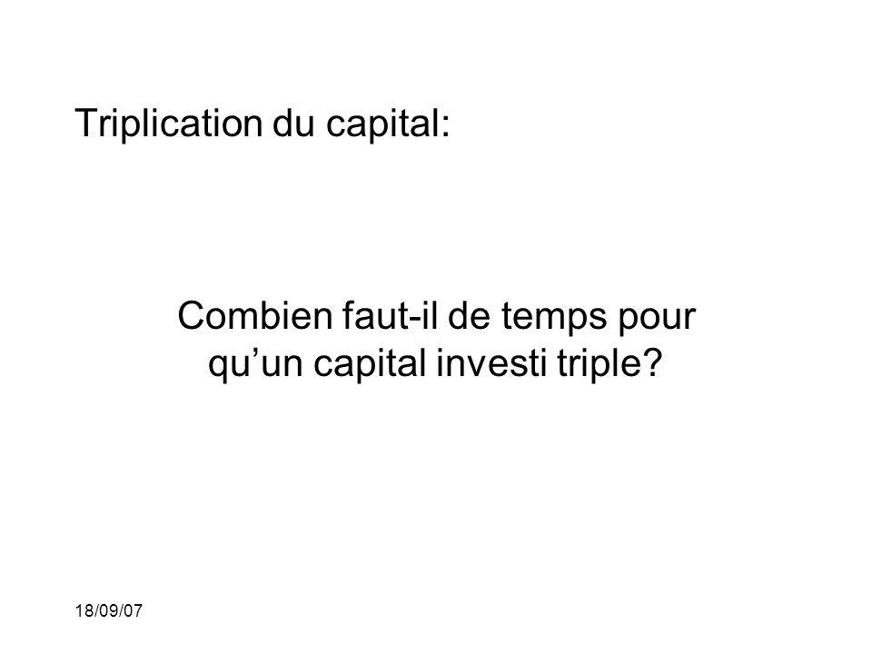 18/09/07 Triplication du capital: Combien faut-il de temps pour quun capital investi triple?
