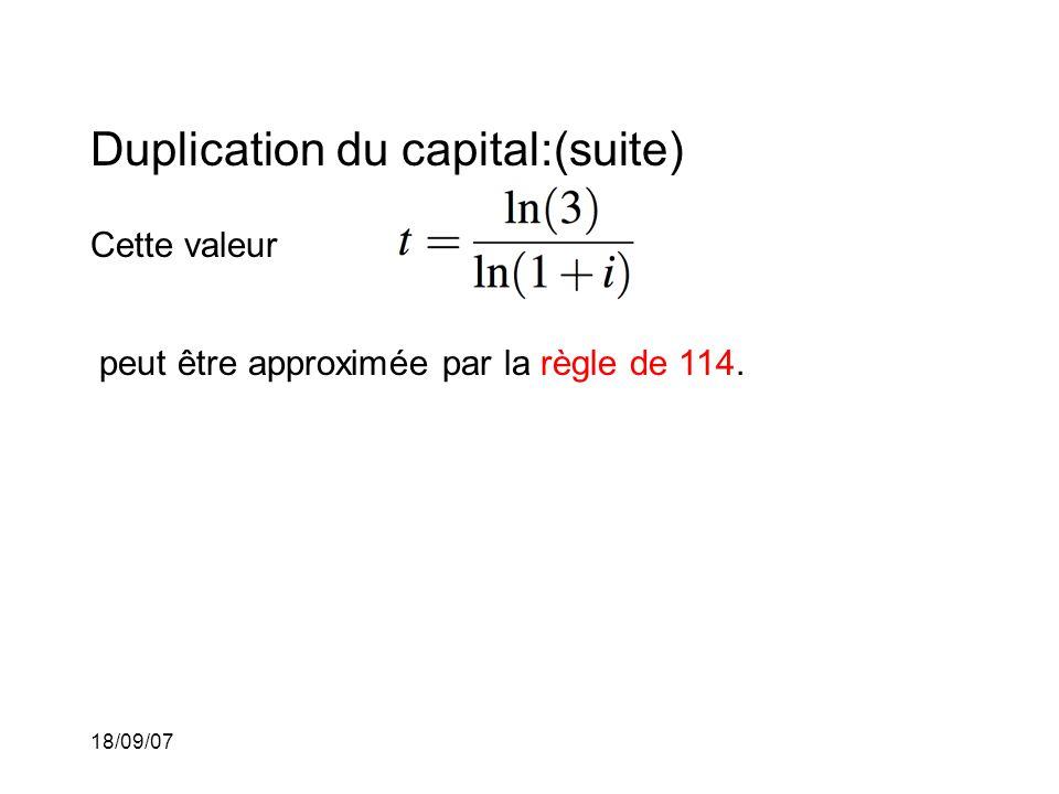 18/09/07 Duplication du capital:(suite) Cette valeur peut être approximée par la règle de 114.
