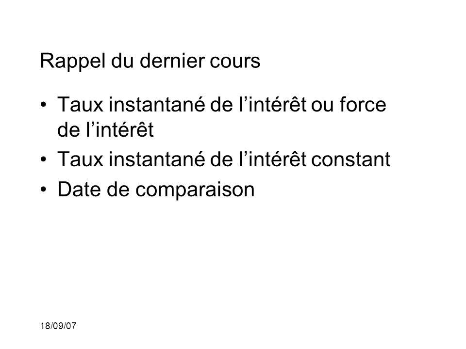 18/09/07 Rappel du dernier cours Taux instantané de lintérêt ou force de lintérêt Taux instantané de lintérêt constant Date de comparaison