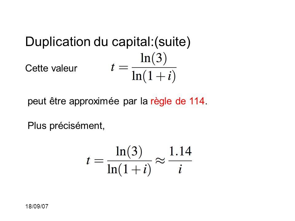 18/09/07 Duplication du capital:(suite) Cette valeur peut être approximée par la règle de 114. Plus précisément,