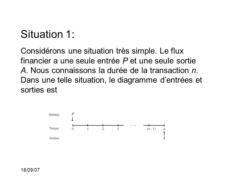 18/09/07 Situation 1: Considérons une situation très simple. Le flux financier a une seule entrée P et une seule sortie A. Nous connaissons la durée d