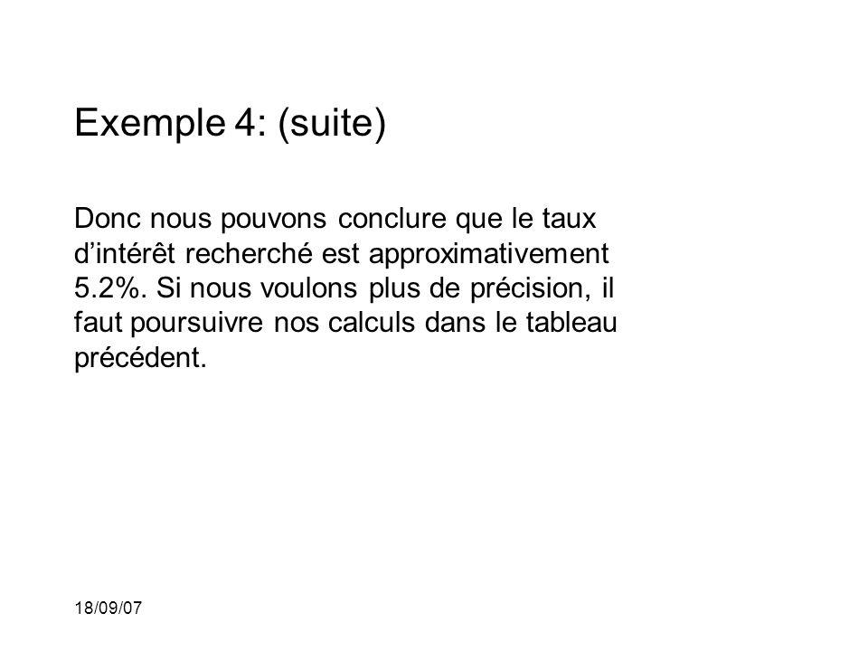 18/09/07 Exemple 4: (suite) Donc nous pouvons conclure que le taux dintérêt recherché est approximativement 5.2%. Si nous voulons plus de précision, i