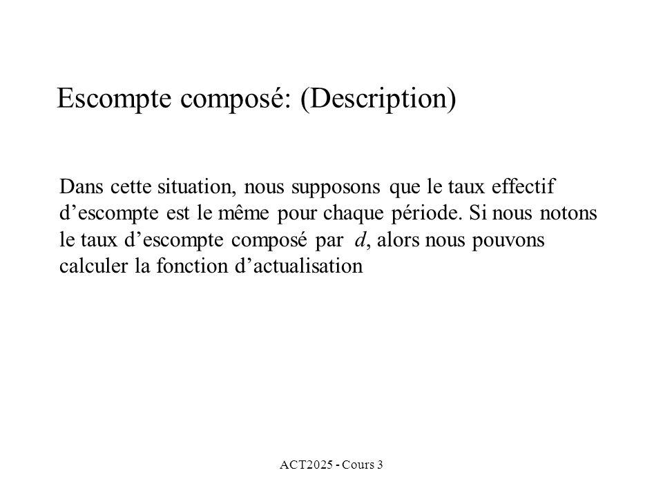 ACT2025 - Cours 3 Escompte composé: (Description) Dans cette situation, nous supposons que le taux effectif descompte est le même pour chaque période.