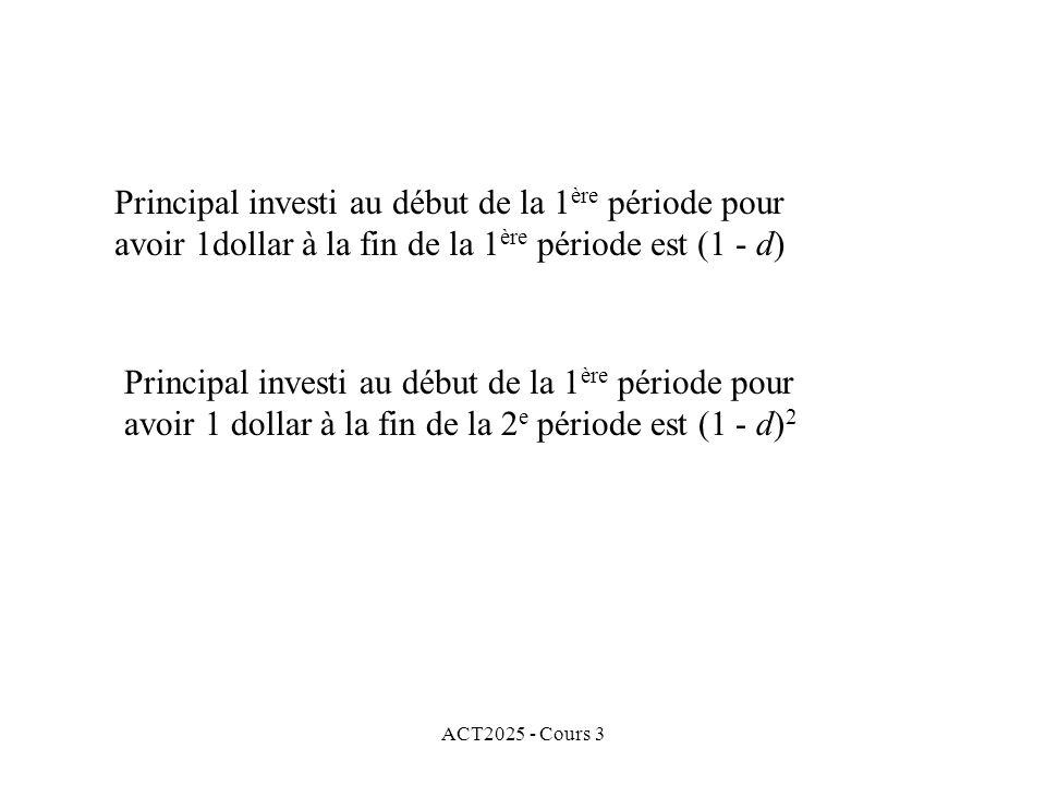 ACT2025 - Cours 3 Principal investi au début de la 1 ère période pour avoir 1dollar à la fin de la 1 ère période est (1 - d) Principal investi au débu