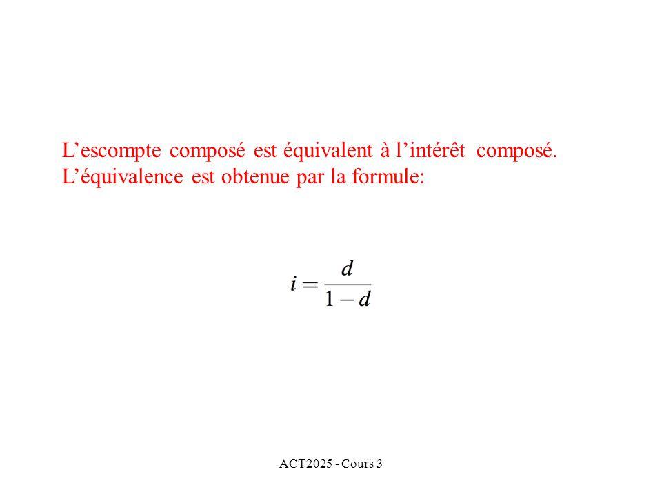 ACT2025 - Cours 3 Lescompte composé est équivalent à lintérêt composé. Léquivalence est obtenue par la formule: