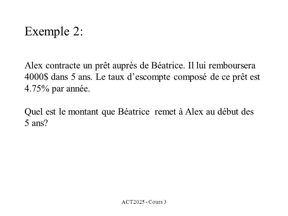 ACT2025 - Cours 3 Exemple 2: Alex contracte un prêt auprès de Béatrice. Il lui remboursera 4000$ dans 5 ans. Le taux descompte composé de ce prêt est
