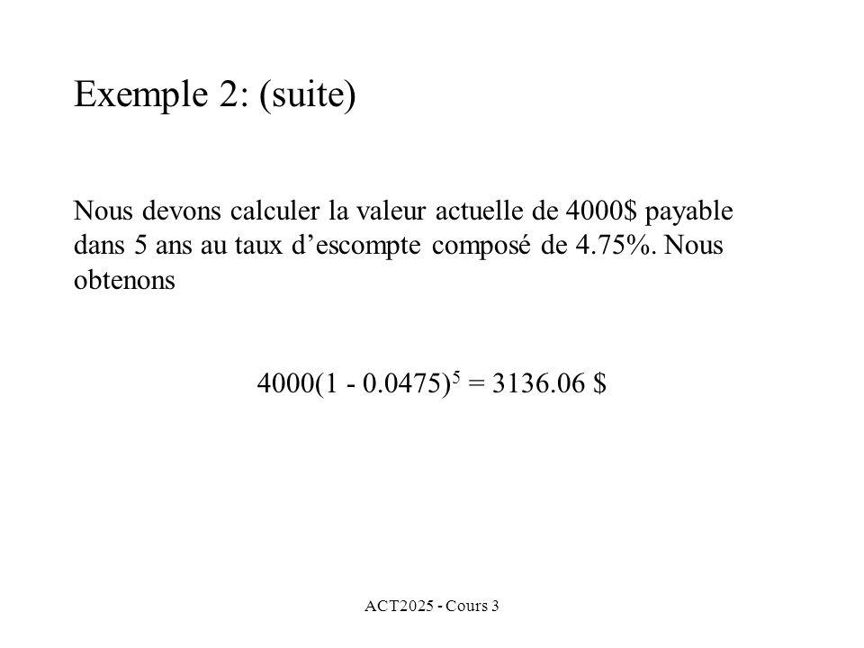 ACT2025 - Cours 3 Exemple 2: (suite) Nous devons calculer la valeur actuelle de 4000$ payable dans 5 ans au taux descompte composé de 4.75%. Nous obte