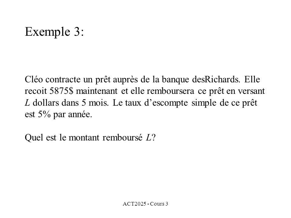 ACT2025 - Cours 3 Cléo contracte un prêt auprès de la banque desRichards. Elle recoit 5875$ maintenant et elle remboursera ce prêt en versant L dollar
