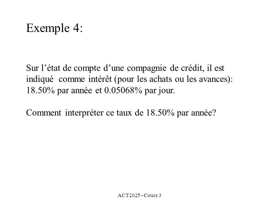 ACT2025 - Cours 3 Exemple 4: Sur létat de compte dune compagnie de crédit, il est indiqué comme intérêt (pour les achats ou les avances): 18.50% par a
