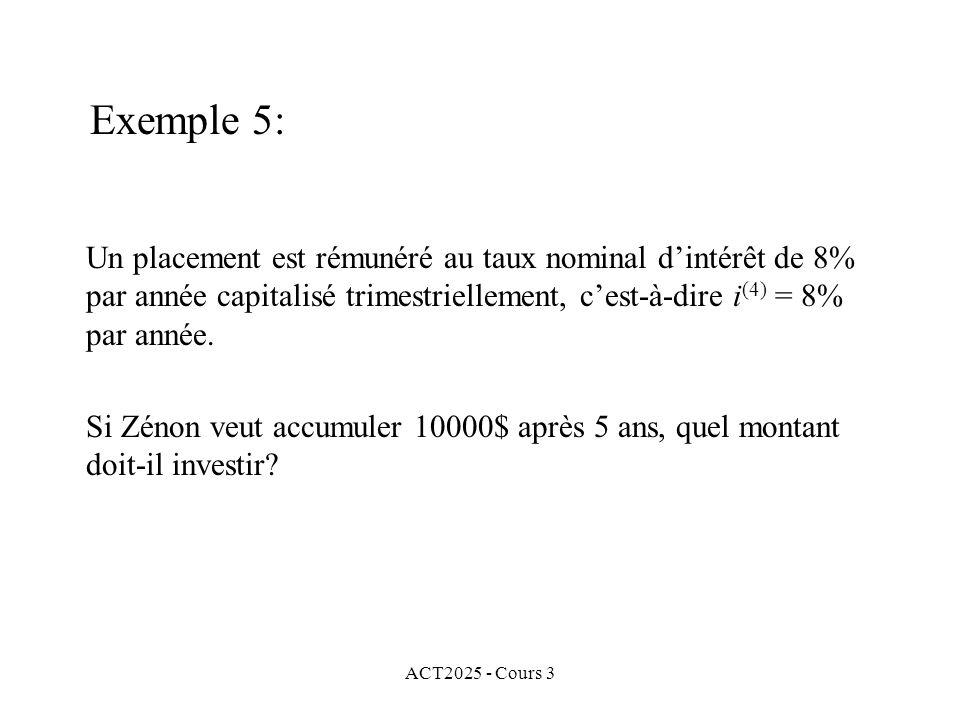 ACT2025 - Cours 3 Exemple 5: Un placement est rémunéré au taux nominal dintérêt de 8% par année capitalisé trimestriellement, cest-à-dire i (4) = 8% p