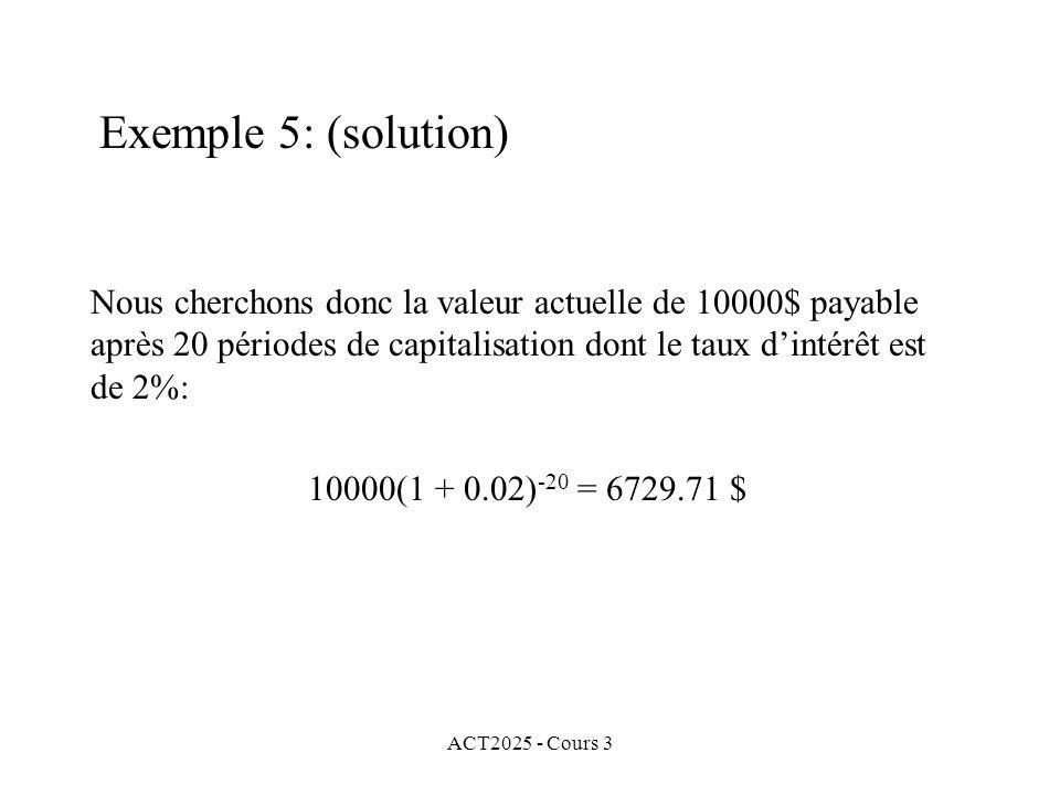 ACT2025 - Cours 3 Nous cherchons donc la valeur actuelle de 10000$ payable après 20 périodes de capitalisation dont le taux dintérêt est de 2%: 10000(