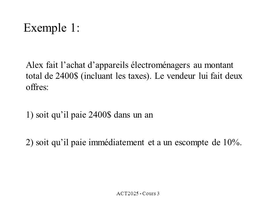 ACT2025 - Cours 3 Exemple 1: Alex fait lachat dappareils électroménagers au montant total de 2400$ (incluant les taxes). Le vendeur lui fait deux offr